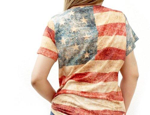 画像クリックで大きく確認できます Click↓2: レディース ウエスタン 半袖Tシャツ(星条旗)/American Flag Short Sleeve T-shirt(Women's)