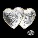 クラムライン ダブル ハート ベルト バックル(シルバー・ゴールド)/Crumrine Double Heart Belt Buckle(Silver/Gold)