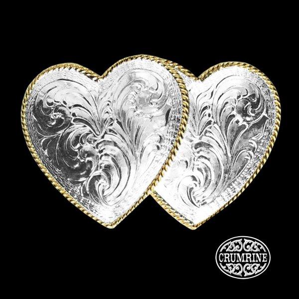 画像1: クラムライン ダブル ハート ベルト バックル(シルバー・ゴールド)/Crumrine Double Heart Belt Buckle(Silver/Gold)
