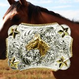 ノコナ ベルト バックル ホースヘッド・スター・ロープエッジ/Nocona Belt Buckle HorseHead/Star/Rope Edge
