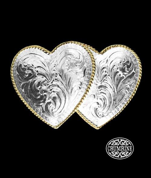 画像クリックで大きく確認できます Click↓1: クラムライン ダブル ハート ベルト バックル(シルバー・ゴールド)/Crumrine Double Heart Belt Buckle(Silver/Gold)