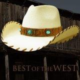 ブルハイド ウエスタン ストローハット ベストオブザウエスト(ナチュラル・ターコイズ)/Bullhide Western Straw Hat Best of the West(Natural)