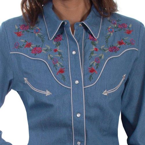 画像クリックで大きく確認できます Click↓2: スカリー ローズ刺繍 デニム ウエスタン シャツ(長袖/デニム)/Scully Long Sleeve Western Shirt(Women's)