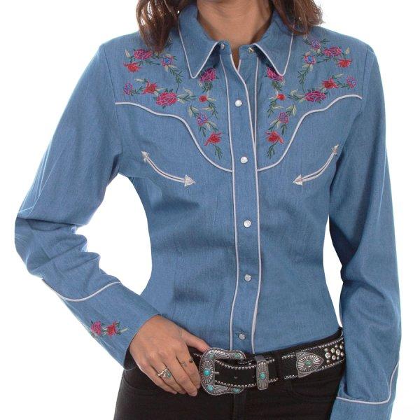 画像1: スカリー ローズ刺繍 デニム ウエスタン シャツ(長袖/デニム)/Scully Long Sleeve Western Shirt(Women's)