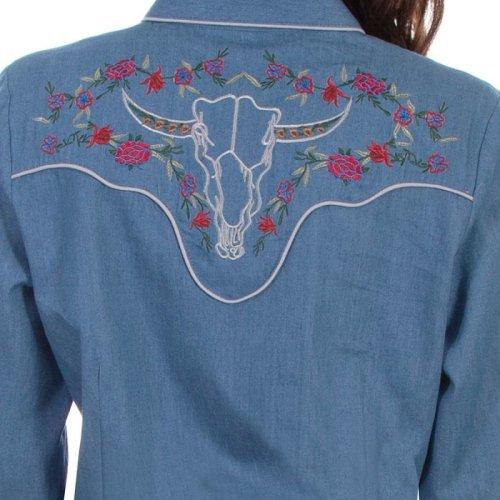 画像クリックで大きく確認できます Click↓3: スカリー ローズ刺繍 デニム ウエスタン シャツ(長袖/デニム)/Scully Long Sleeve Western Shirt(Women's)
