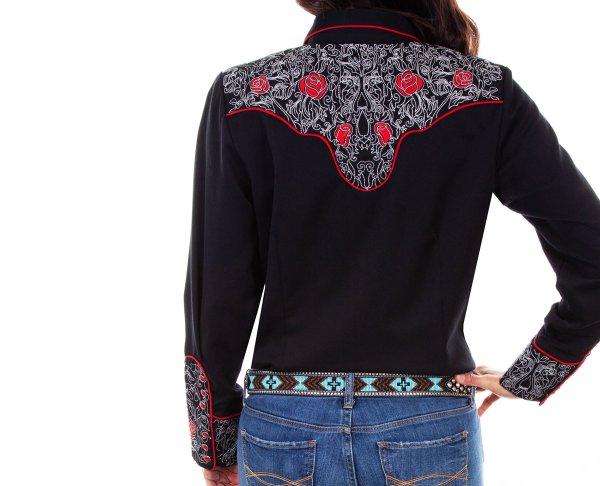 画像3: スカリー ローズ刺繍 ピックステッチ ウエスタン シャツ(長袖/ブラック)/Scully Long Sleeve Western Shirt(Women's)