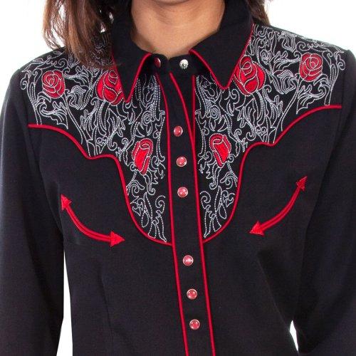 画像クリックで大きく確認できます Click↓2: スカリー ローズ刺繍 ピックステッチ ウエスタン シャツ(長袖/ブラック)/Scully Long Sleeve Western Shirt(Women's)