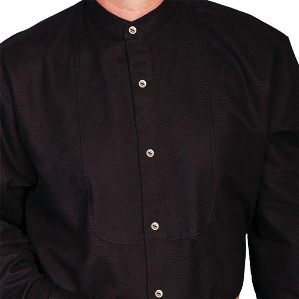 画像2: ワーメーカー バンドカラー インセットビブ オールドウエストシャツ(ブラック)/Wah Maker Band Collar Inset Bib Old West Shirt(Black)