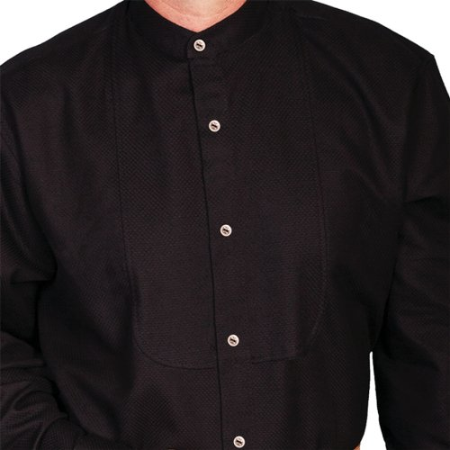 画像クリックで大きく確認できます Click↓2: ワーメーカー バンドカラー インセットビブ オールドウエストシャツ(ブラック)/Wah Maker Band Collar Inset Bib Old West Shirt(Black)