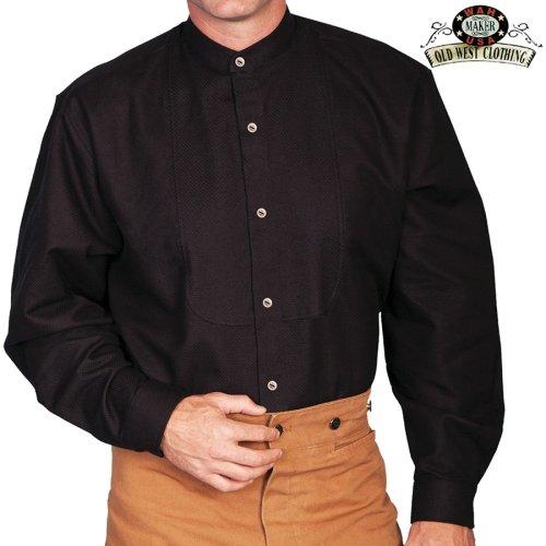 画像クリックで大きく確認できます Click↓1: ワーメーカー バンドカラー インセットビブ オールドウエストシャツ(ブラック)/Wah Maker Band Collar Inset Bib Old West Shirt(Black)