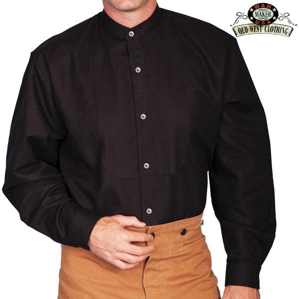 画像1: ワーメーカー バンドカラー インセットビブ オールドウエストシャツ(ブラック)/Wah Maker Band Collar Inset Bib Old West Shirt(Black)