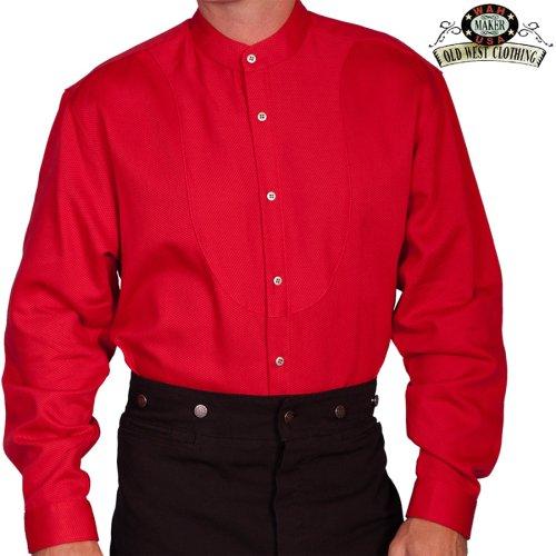 画像クリックで大きく確認できます Click↓1: ワーメーカー バンドカラー インセットビブ オールドウエストシャツ(レッド)/Wah Maker Band Collar Inset Bib Old West Shirt(Red)