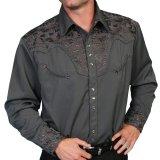 スカリー ウエスタン 刺繍 シャツ(長袖/チャコール)/Scully Long Sleeve Embroidered Western Shirt(Men's)