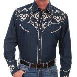 スカリー アズテック刺繍 ウエスタン シャツ(長袖/デニム)/Scully Long Sleeve Embroidered Western Shirt(Men's)