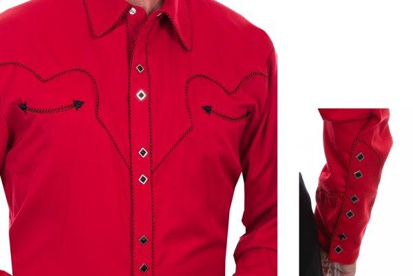 画像3: スカリー キャンディケイン パイピング ウエスタン シャツ(長袖/レッド・ブラック)/Scully Long Sleeve Western Shirt(Crimson)