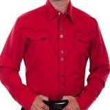 スカリー キャンディケイン パイピング ウエスタン シャツ(長袖/レッド・ブラック)/Scully Long Sleeve Western Shirt(Crimson)