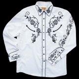 スカリー ウエスタン 刺繍 シャツ(長袖/ホワイト・ブラック)/Scully Long Sleeve Embroidered Western Shirt