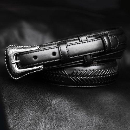 画像クリックで大きく確認できます Click↓1: ノコナ レンジャー ベルト(アローレース・ブラック)/Nocona Arrow Lace Ranger Belt(Black)