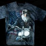 アメリカンバイカー・アメリカンイーグル&星条旗 半袖Tシャツ(ブラック)/Motorcycle American Eagle/U.S.A Shortsleeve T-shirt(Black)