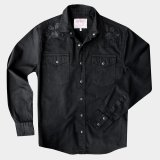 スナップフロント ウエスタンシャツ(ブラック・ブラックローズ刺繍)/Long Sleeve Western Shirt(Black/Black Rose)