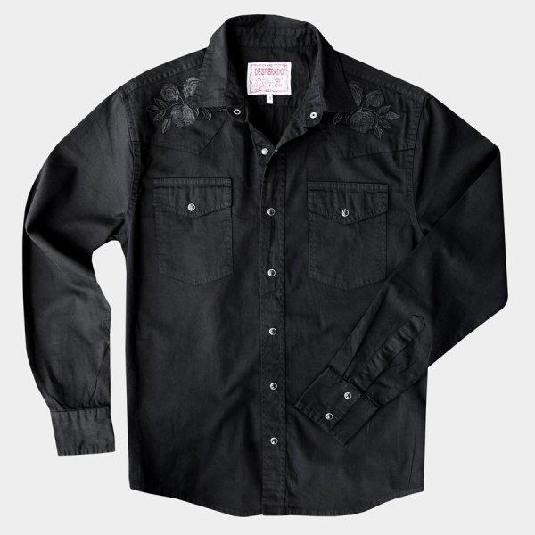 画像1: スナップフロント ウエスタンシャツ(ブラック・ブラックローズ刺繍)/Long Sleeve Western Shirt(Black/Black Rose)