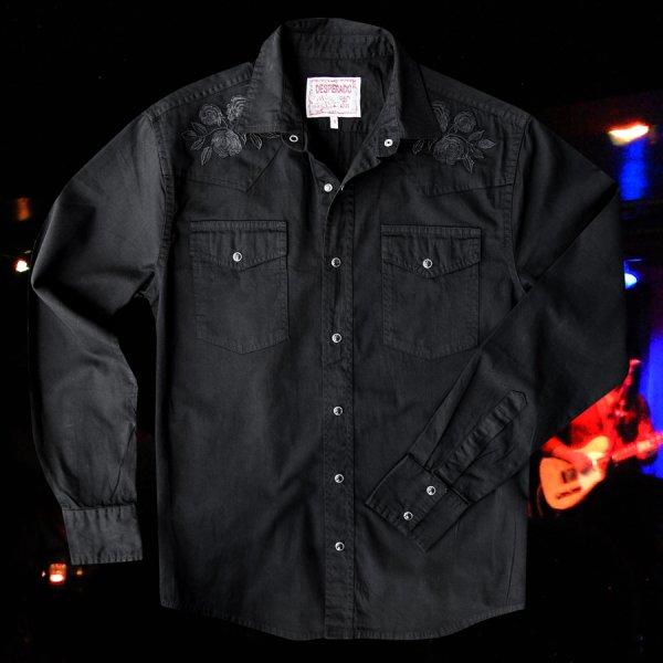 画像4: スナップフロント ウエスタンシャツ(ブラック・ブラックローズ刺繍)/Long Sleeve Western Shirt(Black/Black Rose)