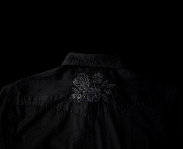 画像3: スナップフロント ウエスタンシャツ(ブラック・ブラックローズ刺繍)/Long Sleeve Western Shirt(Black/Black Rose)