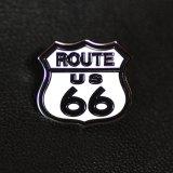 ルート66 ピンバッジ ホワイト・ブラック/Pin Route 66