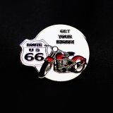 ルート66 ピンバッジ モーターサイクル・レッド GET YOUR KICKS!/Pin Route 66