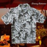 トミーバハマ シルク ハワイアン シャツ・アロハシャツ(半袖・グレイ・ブラック)/Tommy Bahama Short Sleeve Hawaiian Shirt(Grey/Black)