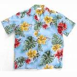 アロハシャツ・トロピカルハイビスカス ブルーハワイ/Aloha Shirt