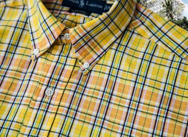 画像3: ラルフローレン 半袖 シャツ(レモンイエロー・ピーチ)/Ralph Lauren Plaid Shortsleeve Shirt