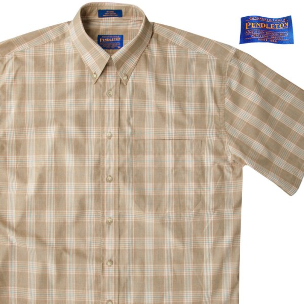 画像1: ペンドルトン 半袖 シャツ(タン/ブルー)/Pendleton Plaid Shortsleeve Shirt(Tan)