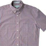 エバグリーン 半袖 シャツ(バーガンディー・ブルー)/Evergreen Plaid Shortsleeve Shirt