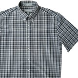 エバグリーン 半袖 シャツ(ブルー・グレー)/Evergreen Plaid Shortsleeve Shirt