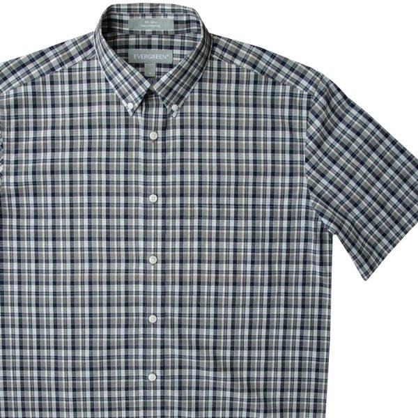 画像1: エバグリーン 半袖 シャツ(ブルー・グレー)/Evergreen Plaid Shortsleeve Shirt