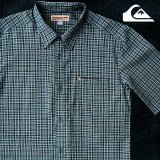 クイックシルバー 半袖 シャツ(グリーン・ブルー)/Quiksilver Tencel Plaid Shortsleeve Shirt(Green/Blue)