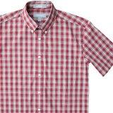 エバグリーン 半袖 シャツ(バーガンディー)/Evergreen Plaid Shortsleeve Shirt