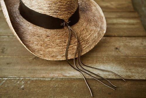 画像クリックで大きく確認できます Click↓3: 馬毛革&牛革 カウボーイ ストローハット(パームファイバー)/Western Straw Hat