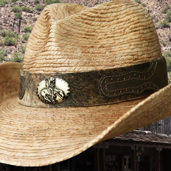 画像2: 馬毛革&牛革 カウボーイ ストローハット(パームファイバー)/Western Straw Hat