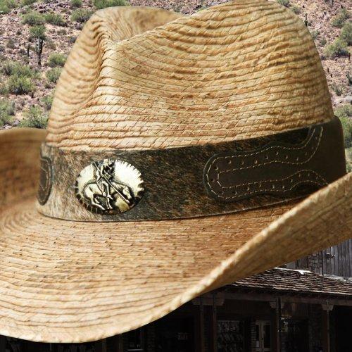 画像クリックで大きく確認できます Click↓2: 馬毛革&牛革 カウボーイ ストローハット(パームファイバー)/Western Straw Hat