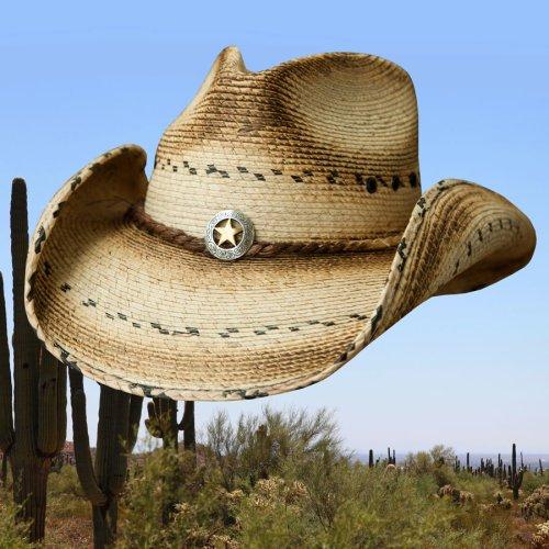 画像クリックで大きく確認できます Click↓1: スター&パーム ウエスタン ストローハット(ナチュラル)/Western Straw Hat(Natural)