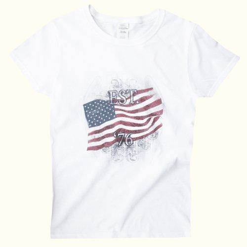 画像クリックで大きく確認できます Click↓1: アメリカンフラッグ 半袖Tシャツ(ホワイト)S/American Flag Short Sleeve T-shirt(Women's)