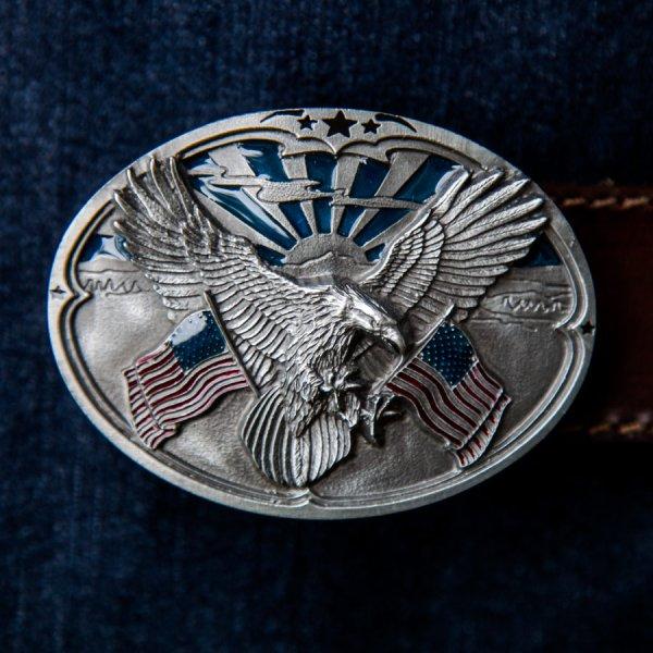 画像1: アメリカンイーグル&星条旗 ベルト バックル/American Eagle&U.S.Flag Belt Buckle
