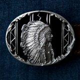 インディアン ベルト バックル ブラック(ダイアモンドカット)/Belt Buckle Indian