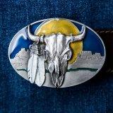 バッファロースカル&フェザー ベルト バックル/Buffalo Skull&Feathers Belt Buckle