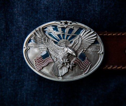 画像クリックで大きく確認できます Click↓1: アメリカンイーグル&星条旗 ベルト バックル/American Eagle&U.S.Flag Belt Buckle
