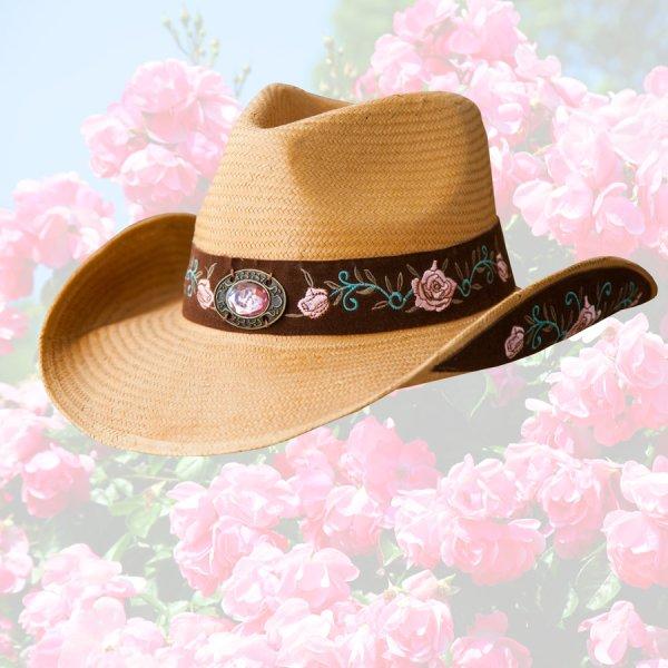 画像1: ブルハイド ローズ刺繍 ウェスタン ストローハット(アートオブラブ)/BULLHIDE Western Straw Hat Art of Love(Pecan)