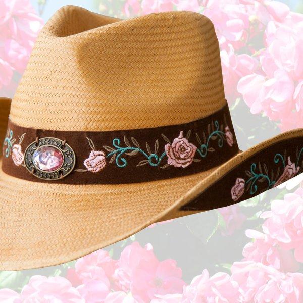 画像2: ブルハイド ローズ刺繍 ウェスタン ストローハット(アートオブラブ)/BULLHIDE Western Straw Hat Art of Love(Pecan)