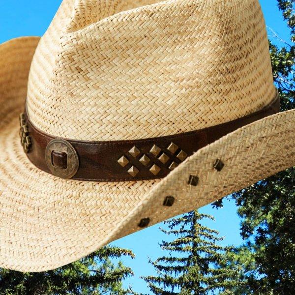 画像2: ウェスタン ストローハット スタッズ(ナチュラル)/Western Straw Hat(Natural)